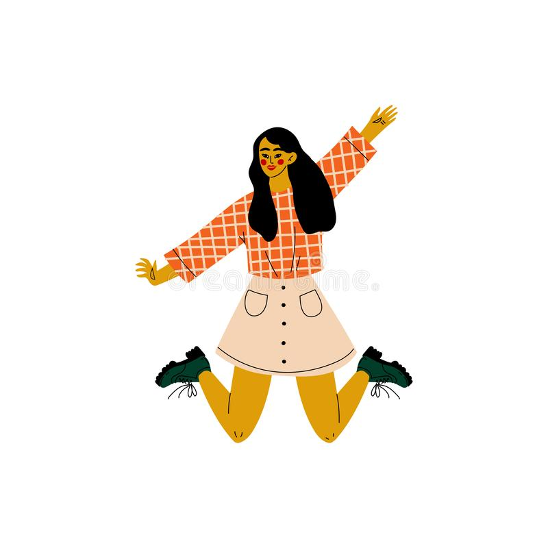 Fille heureuse de brune sautant célébrant l'événement important, soirée dansante, amitié, illustration de vecteur de concept de s illustration de vecteur