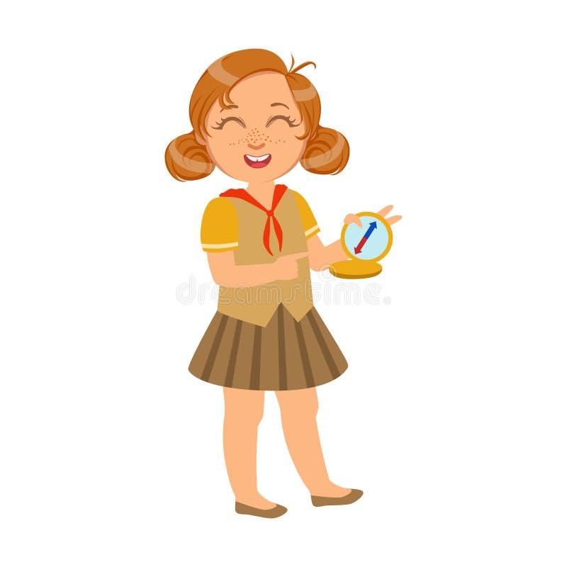 Fille heureuse et riante de scout avec une boussole, un caractère coloré illustration libre de droits