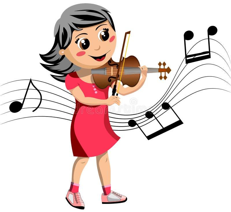Fille heureuse jouant le violon illustration de vecteur
