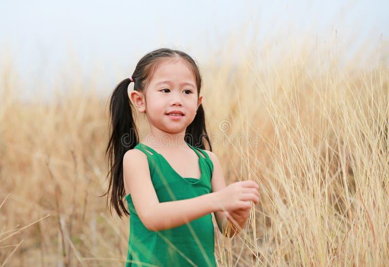 Fille heureuse libre d'enfant dans le domaine d'herbe sèche avec le sourire photo libre de droits