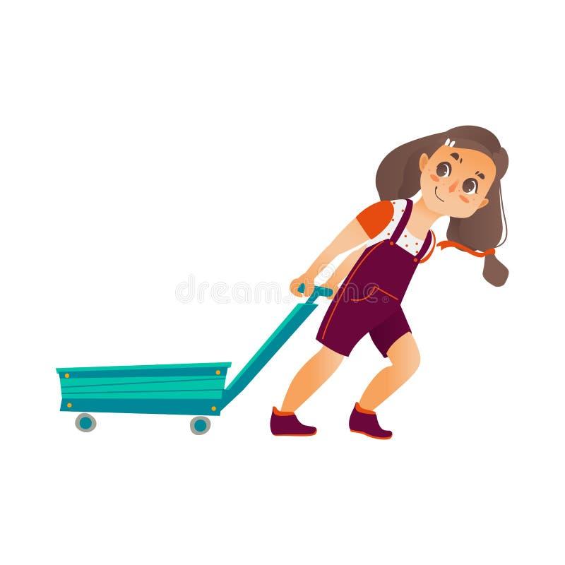 Fille heureuse plate de vecteur tirant le chariot vide illustration libre de droits