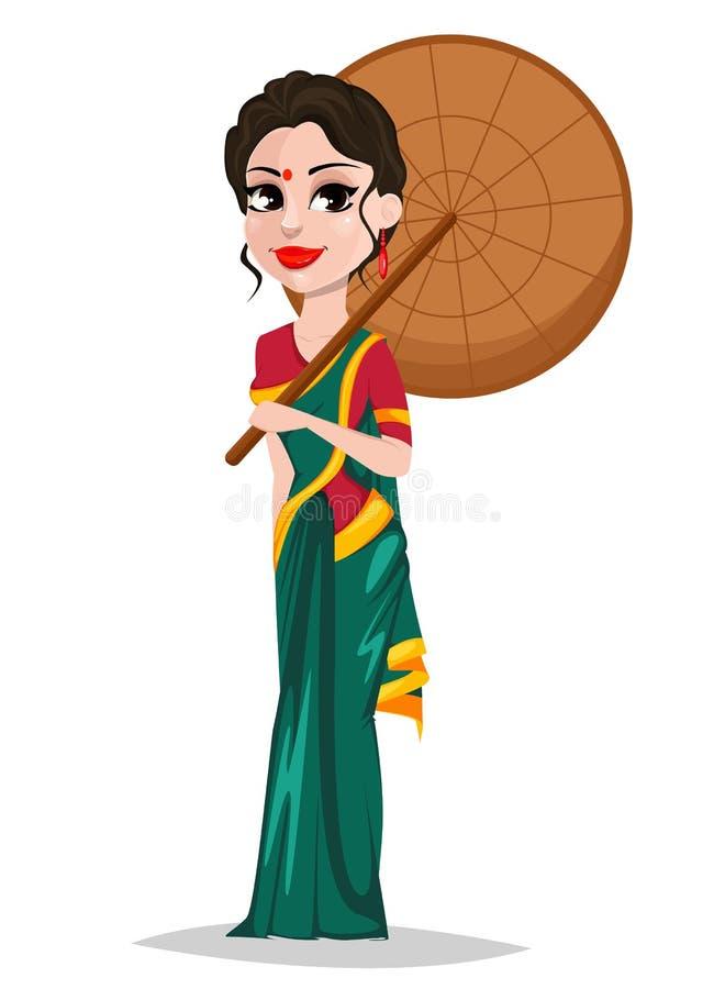 Fille indienne avec le parapluie Belle dame dans des vêtements traditionnels illustration de vecteur