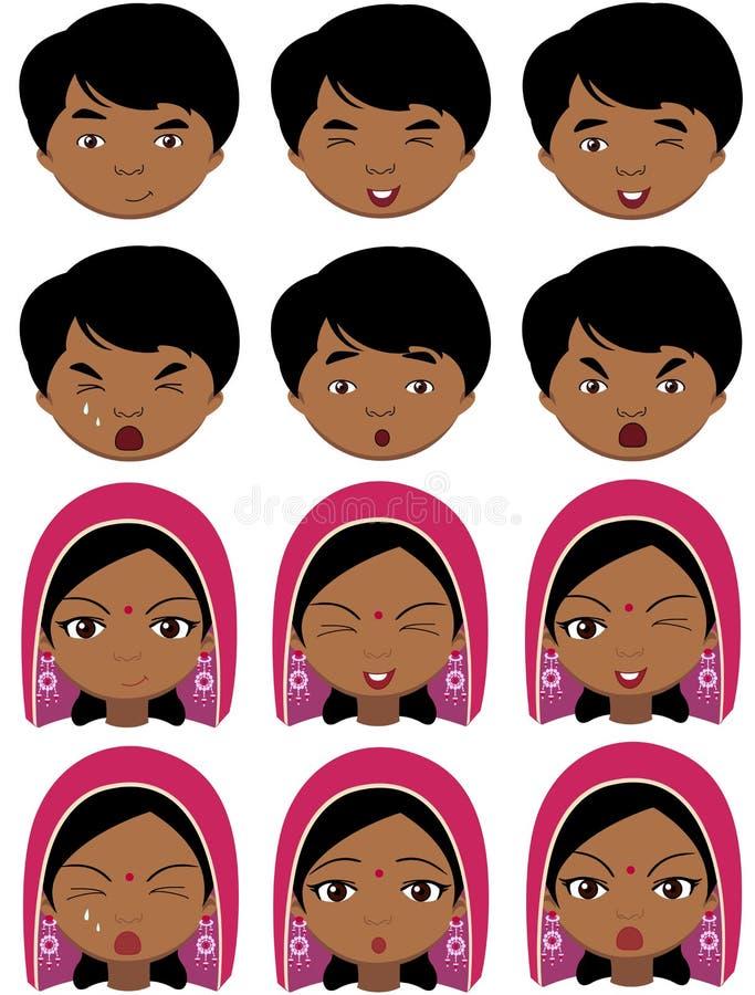 Fille indienne dans une coiffe et des émotions de garçon : joie, surprise, crainte illustration libre de droits