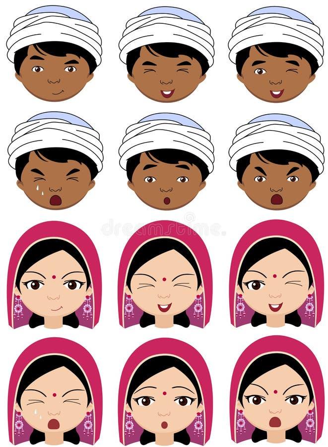 Fille indienne dans une coiffe et garçon dans des émotions de turban : joie, surp illustration stock