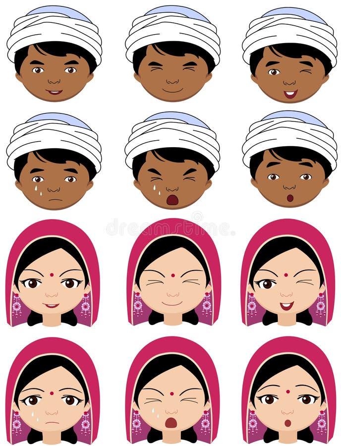Fille indienne dans une coiffe et garçon dans des émotions de turban : joie, surp illustration libre de droits