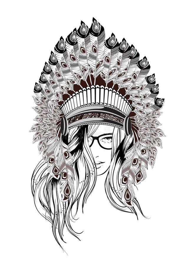 Fille indienne Illustration de fille de Navajo illustration stock