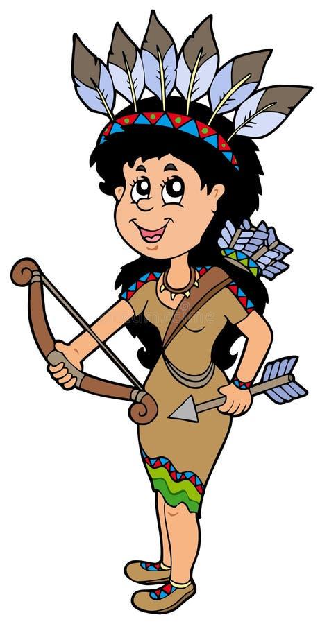Fille indienne indigène mignonne illustration stock