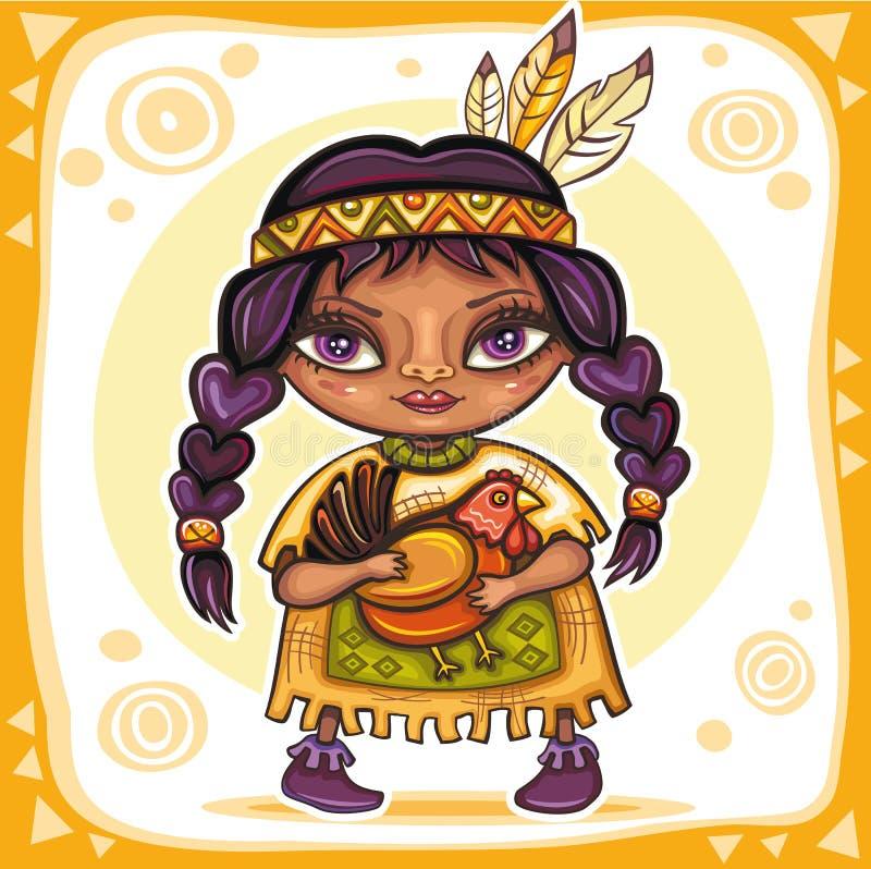 Fille indienne mignonne illustration stock