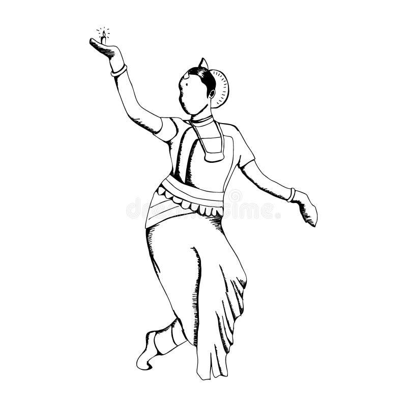 Fille indienne tirée par la main de danseur avec le diya brûlant, une origine traditionnelle de lumière de bougie d'Inde croquis  illustration de vecteur