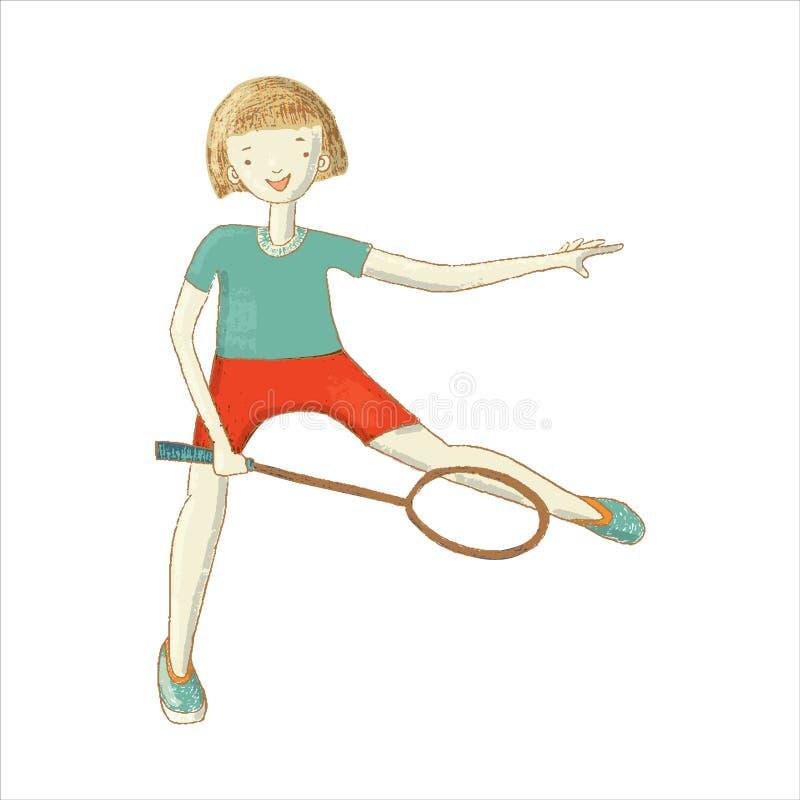 Fille jouant au badminton avec la raquette illustration stock