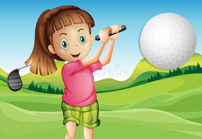 Fille jouant au golf illustration libre de droits