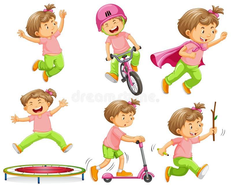 Fille jouant avec différents équipements illustration stock