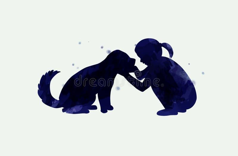 Fille jouant avec la silhouette de chien sur le fond d'aquarelle Le concept de la confiance, de l'amitié et du soin des animaux f illustration libre de droits