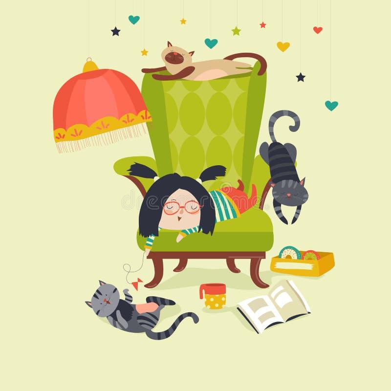 Fille jouant avec le chat illustration stock