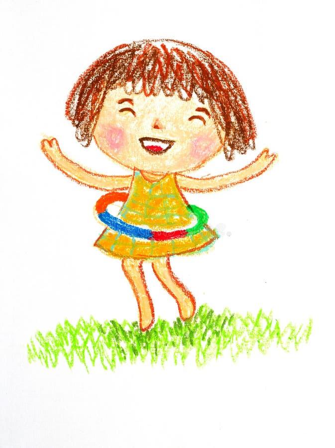 Fille jouant l'illustration de dessin en pastel d'huile de hulahoop illustration libre de droits