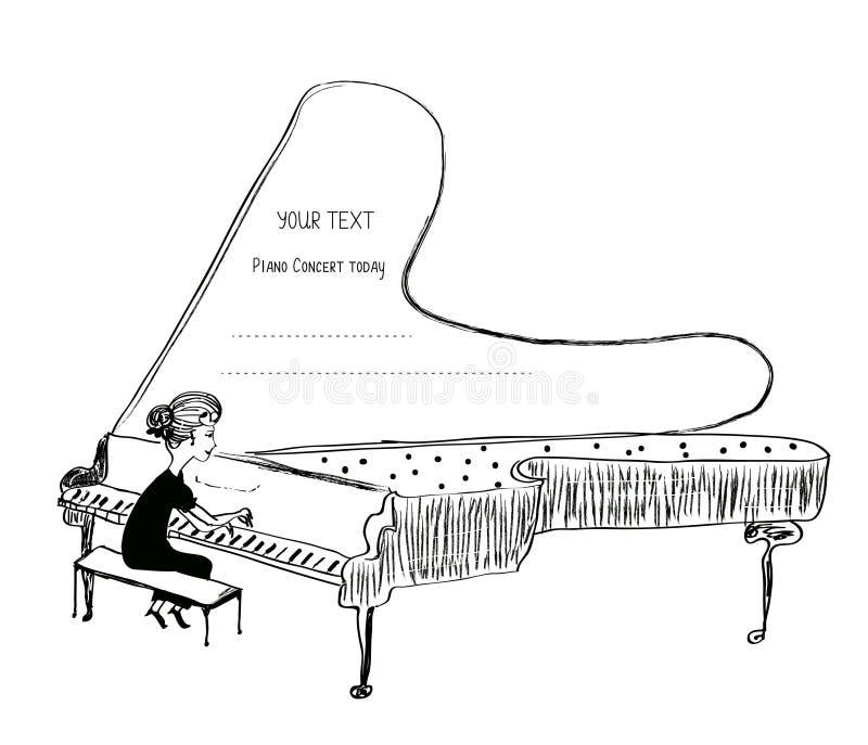 Fille jouant le croquis de piano - fond pour un concert musical illustration libre de droits