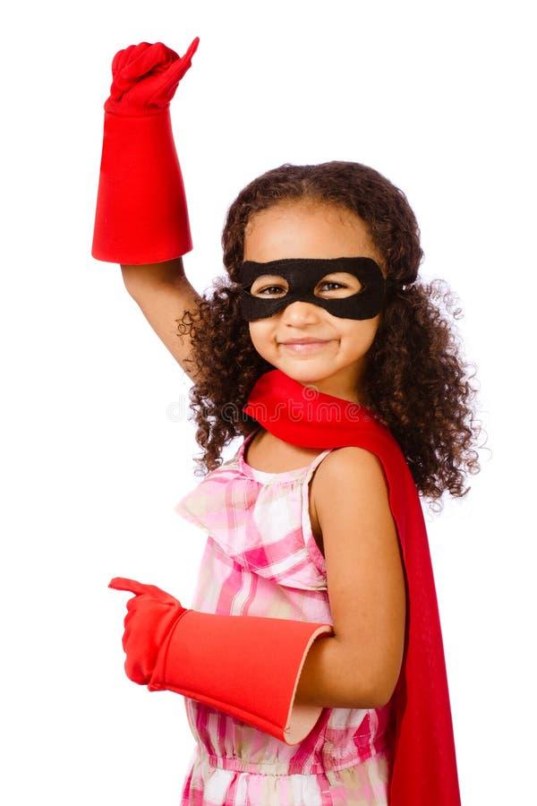 Fille jouant le héros superbe images libres de droits