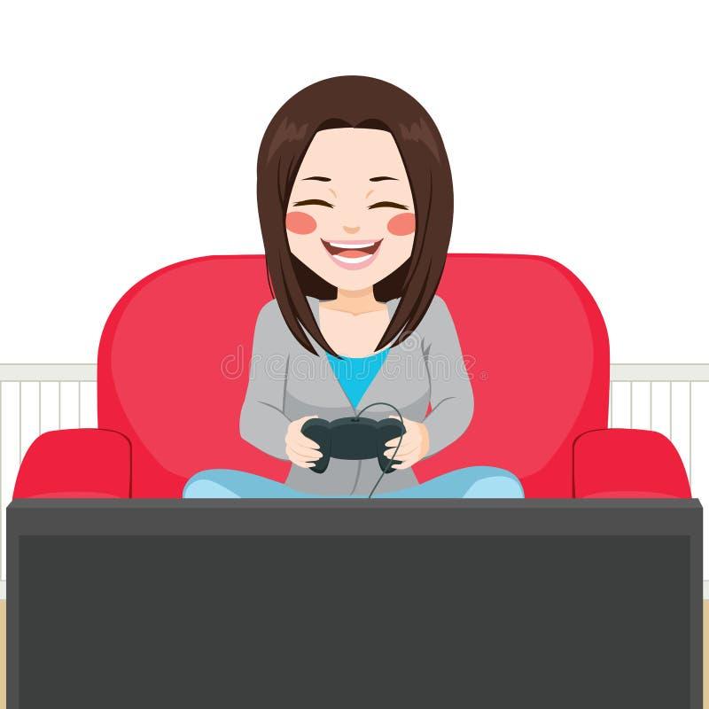 Fille jouant le jeu vidéo illustration libre de droits