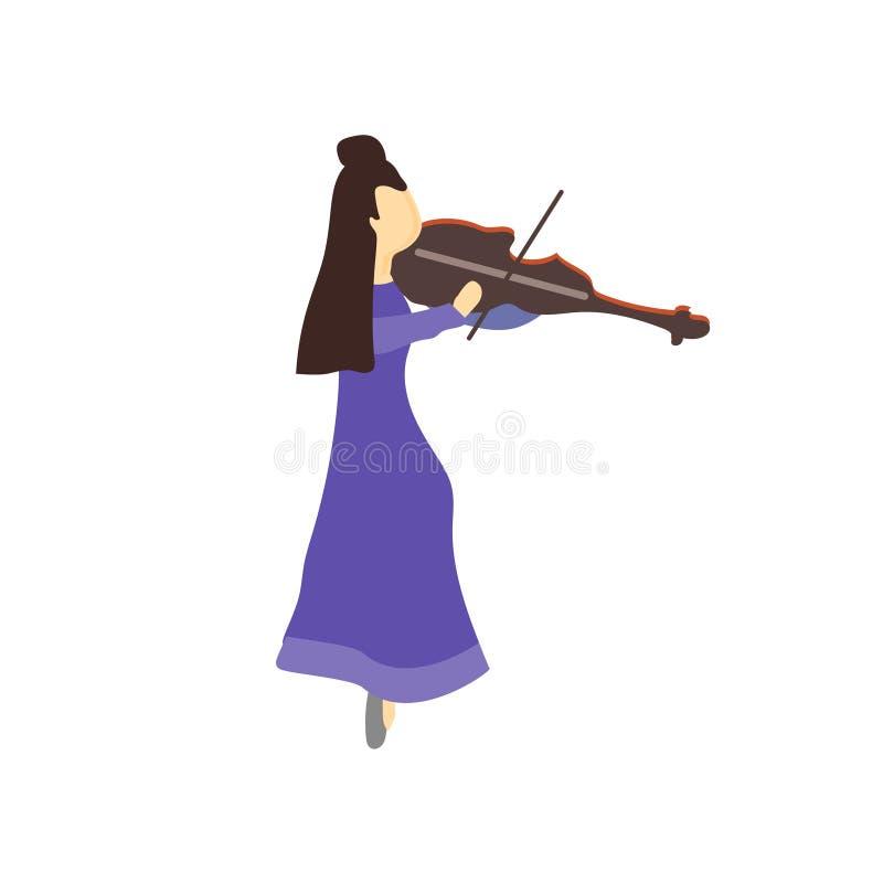 Fille jouant le signe et le symbole de vecteur de vecteur de violon d'isolement sur le fond blanc, fille jouant le concept de log illustration libre de droits