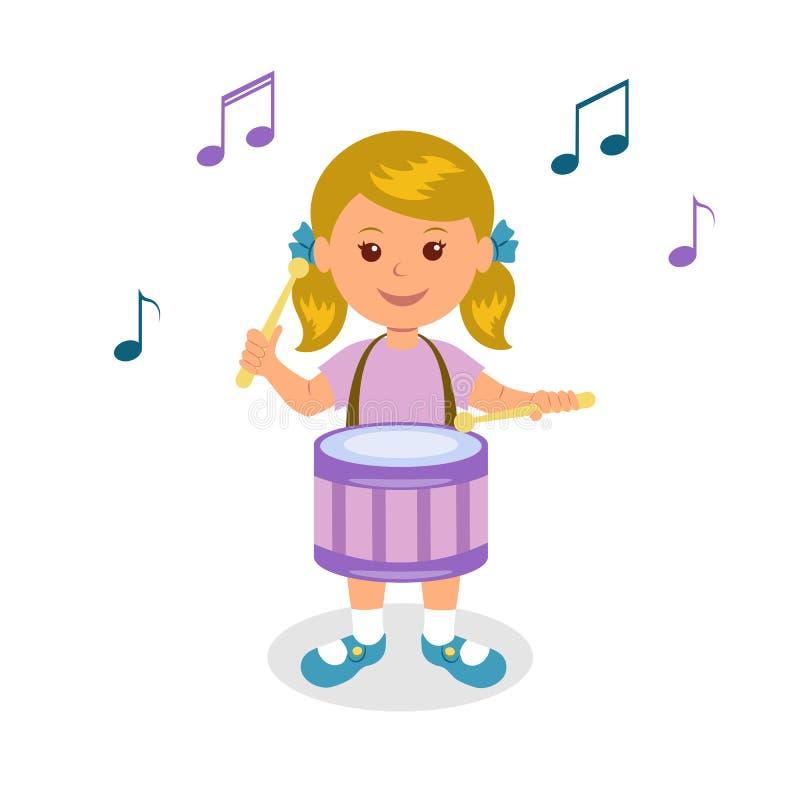 Fille jouant le tambour D'isolement sur le bébé gai de fond blanc jouant le tambour illustration stock