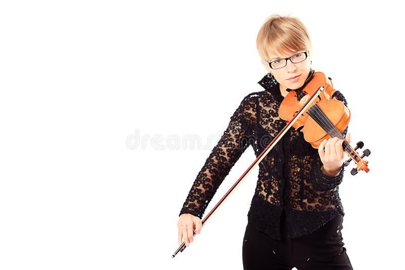 Fille jouant un violon photo libre de droits