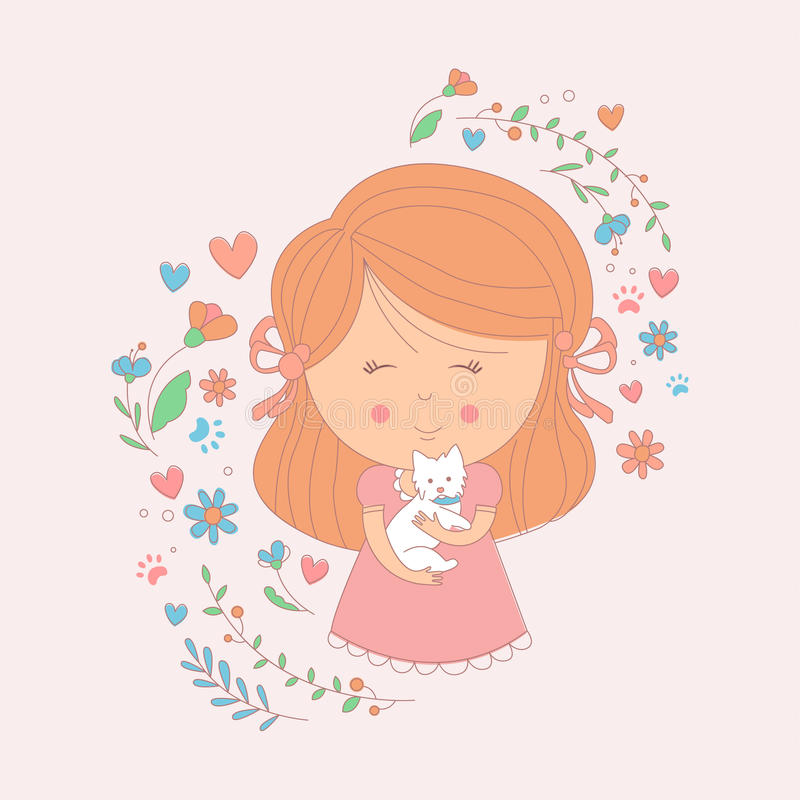 Fille jugeant un petit chien blanc entouré par des coeurs et des fleurs illustration libre de droits