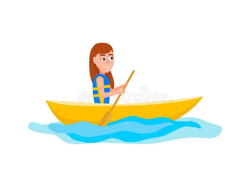 Fille Kayaking s'asseyant dans l'illustration de vecteur de bateau illustration libre de droits