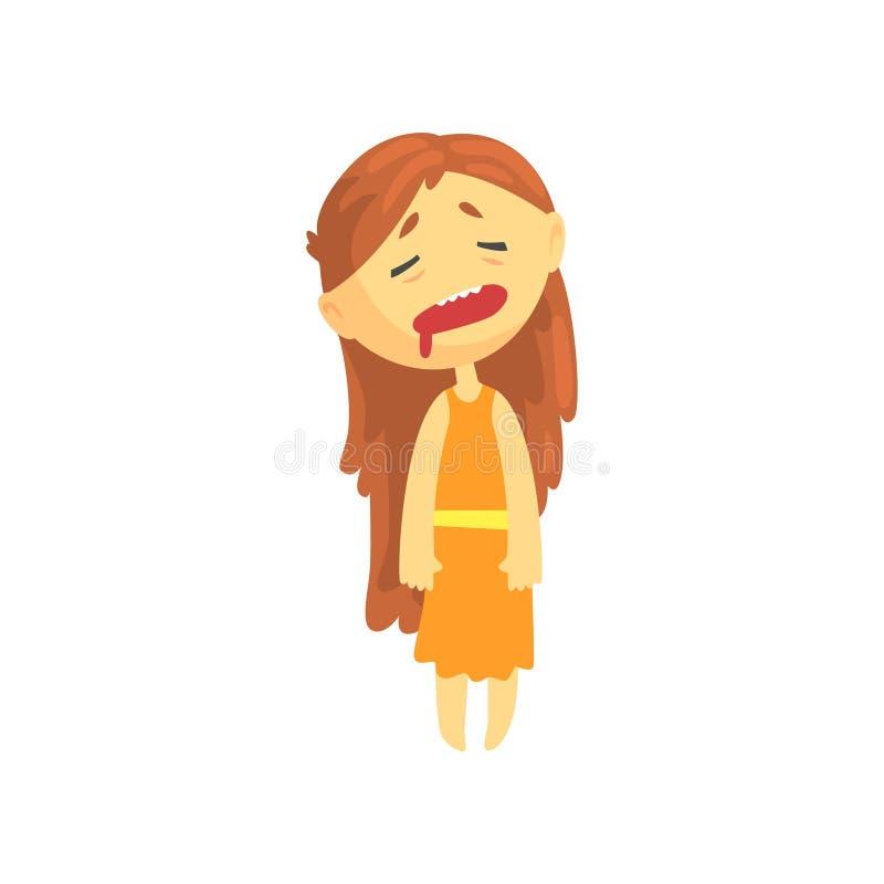 Fille malade avec de longs cheveux, ado souffrant ayant besoin de l'illustration médicale de vecteur de personnage de dessin anim illustration libre de droits