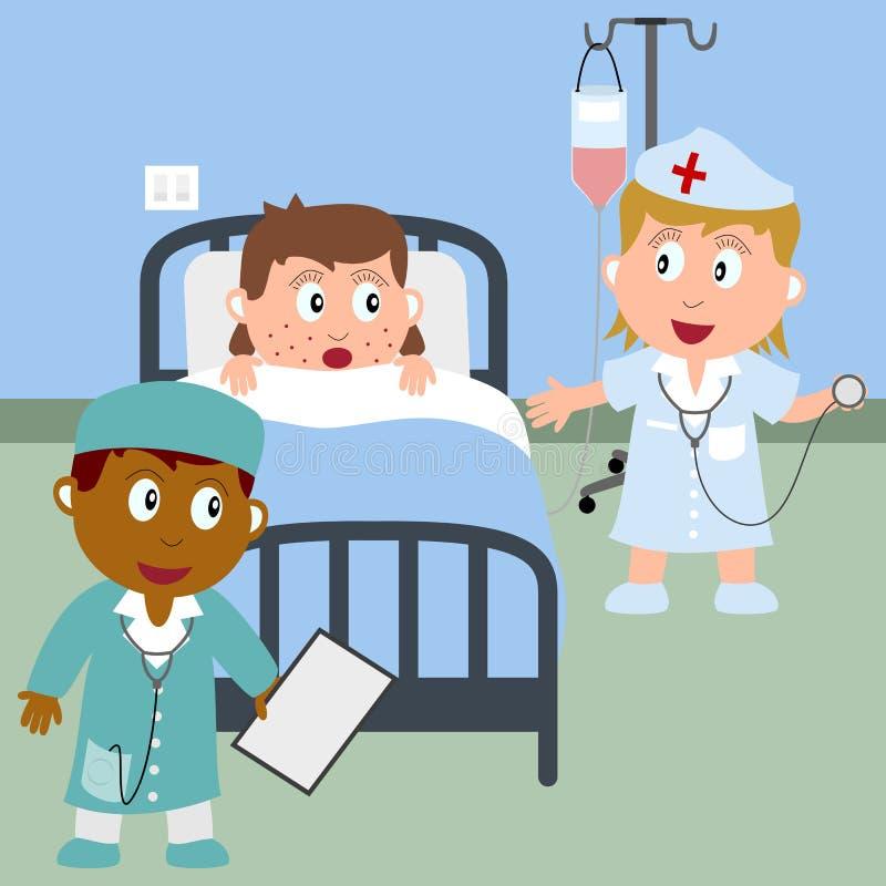 Fille malade dans un bâti d'hôpital illustration stock