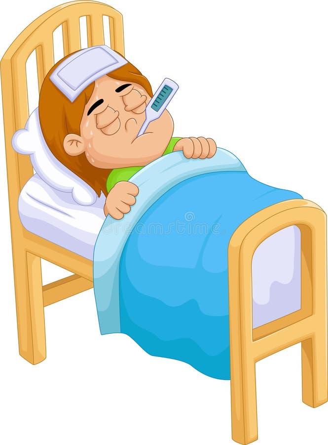 Fille malade de bande dessinée dans le lit illustration de vecteur