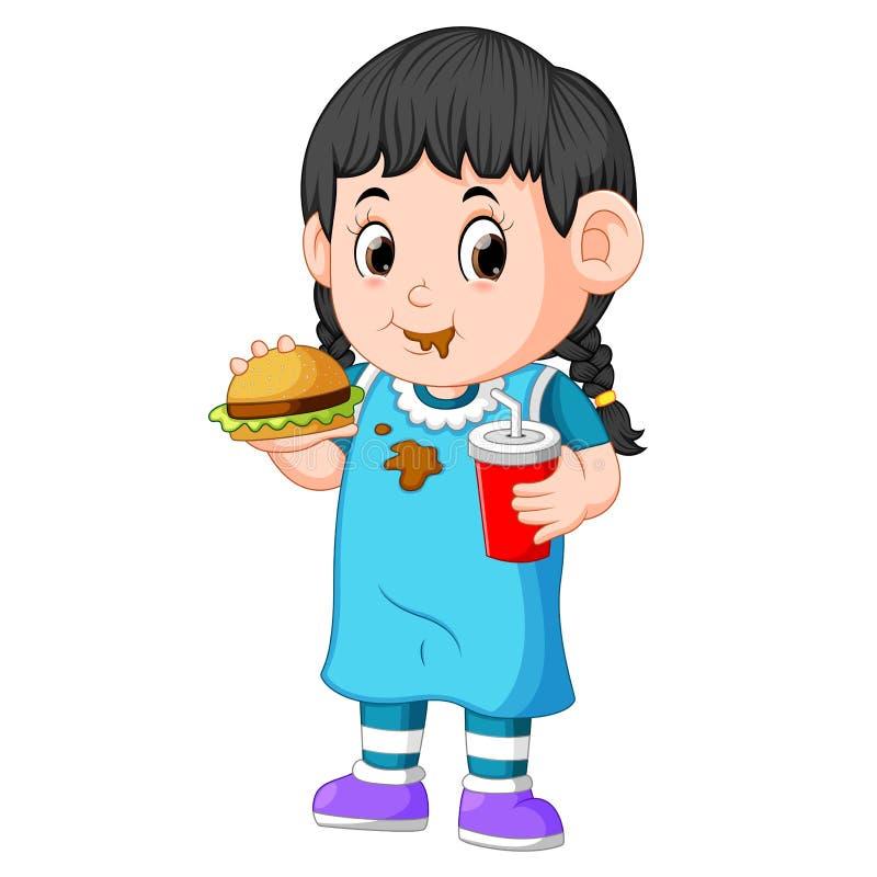 Fille mangeant des aliments de préparation rapide illustration de vecteur