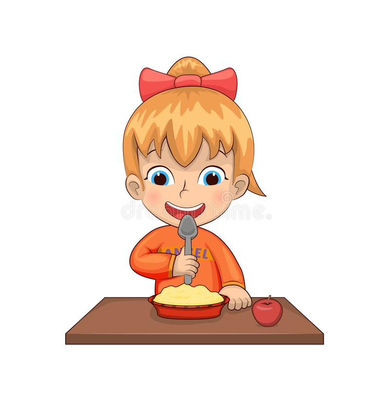Fille mangeant l'illustration de vecteur de repas de petit déjeuner illustration stock