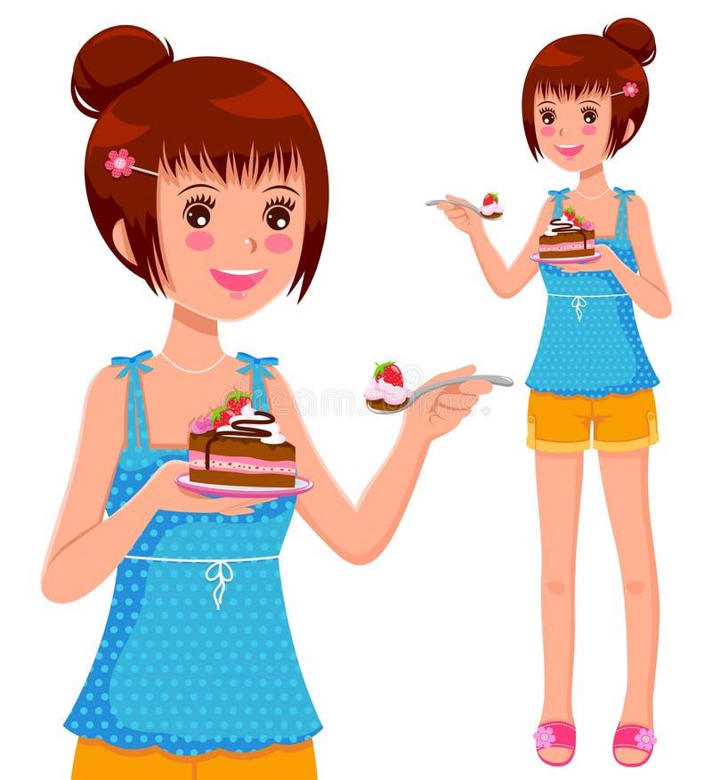 Fille mangeant le gâteau illustration stock