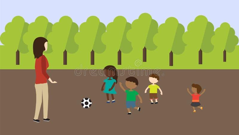 Fille marchant avec l'enfant en parc illustration stock