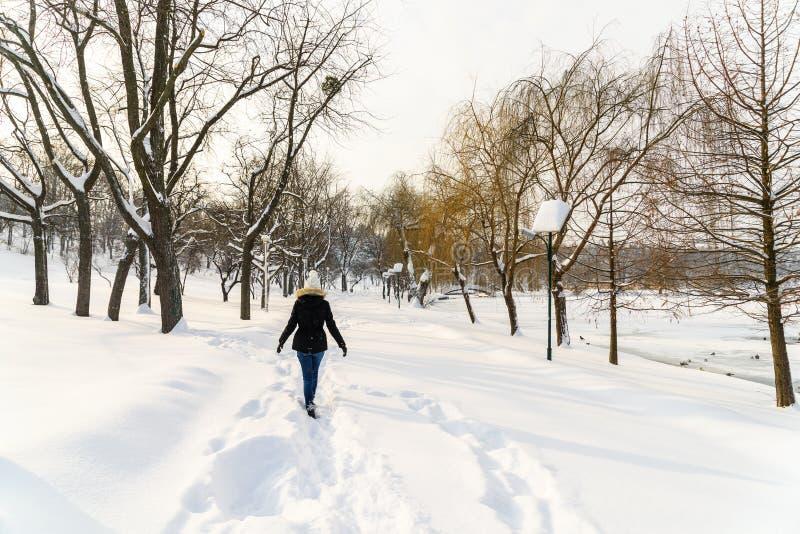 Fille marchant en parc de neige d'hiver photo stock