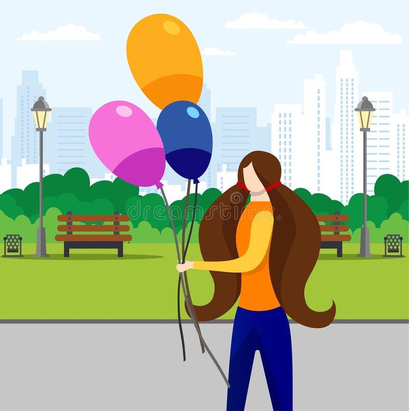 Fille marchant en parc de ville avec le groupe de ballons illustration stock