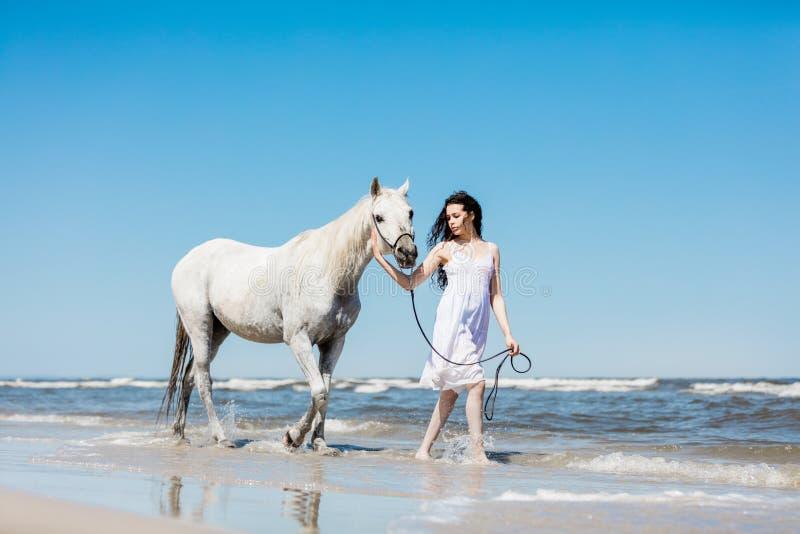 Fille marchant sur la plage avec le cheval blanc images stock