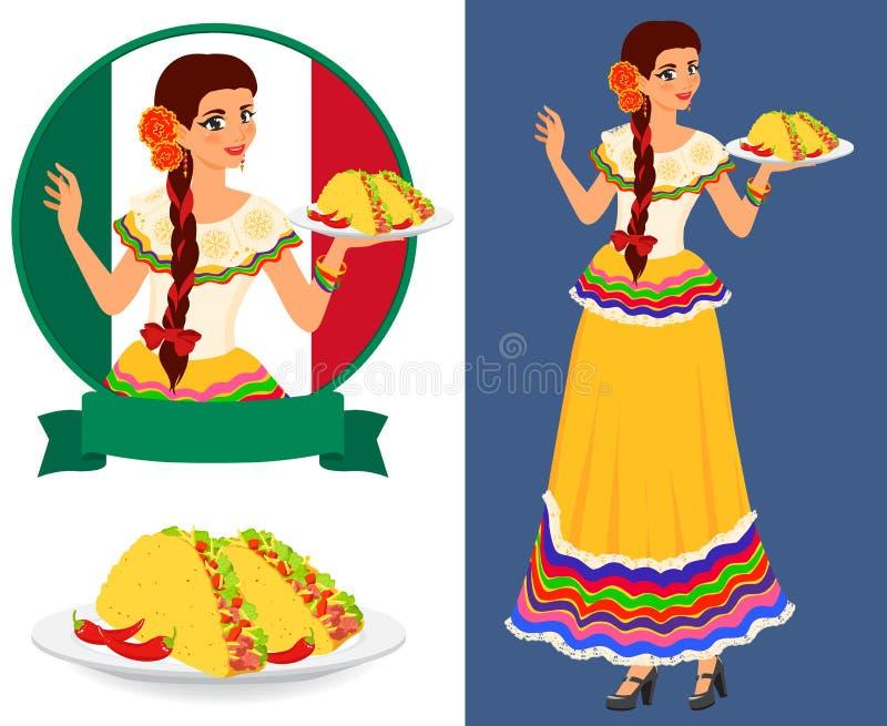 Fille mexicaine avec le taco illustration stock