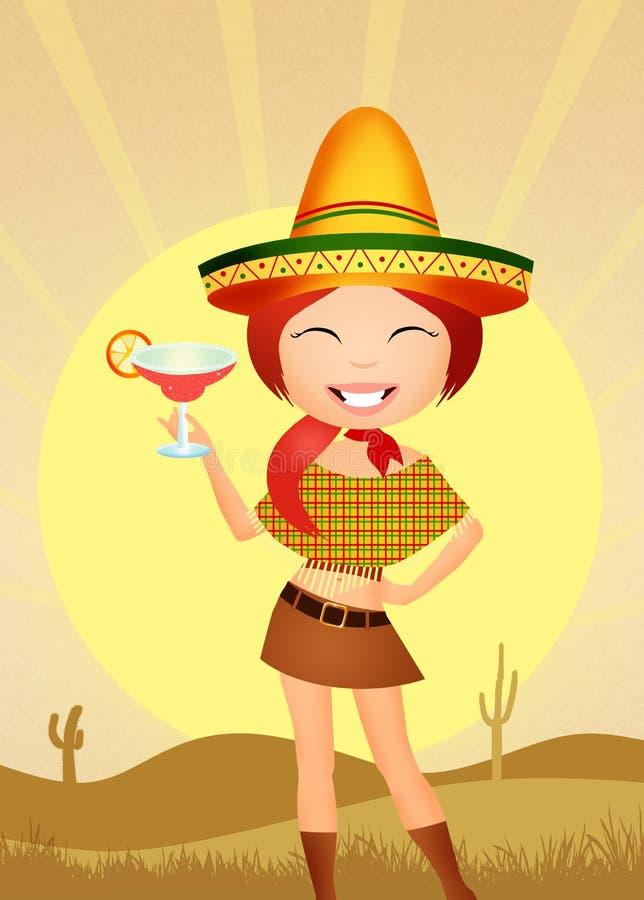 Fille mexicaine drôle illustration stock