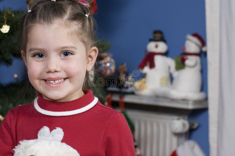 Fille Mignonne Au Temps De Noël Images Stock