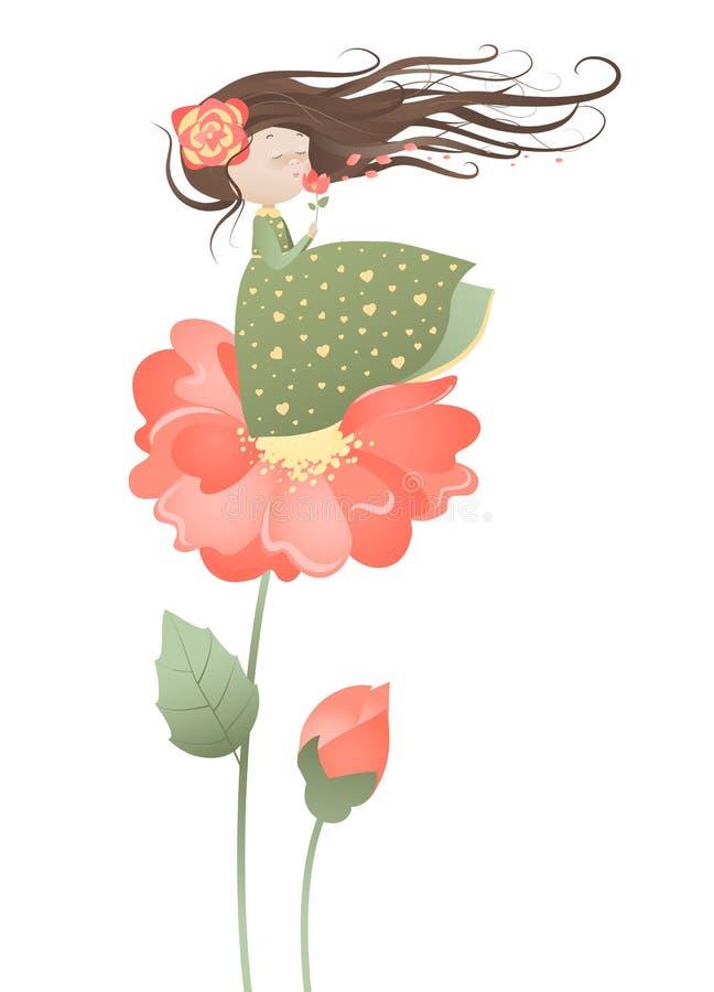 Fille mignonne avec couler des cheveux illustration de vecteur