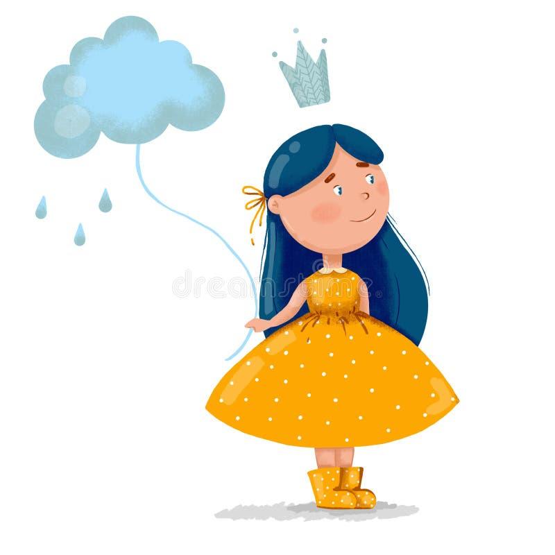 Fille mignonne avec de longs cheveux bleus dans une robe jaune et avec le nuage pleuvant sur le fond blanc image stock
