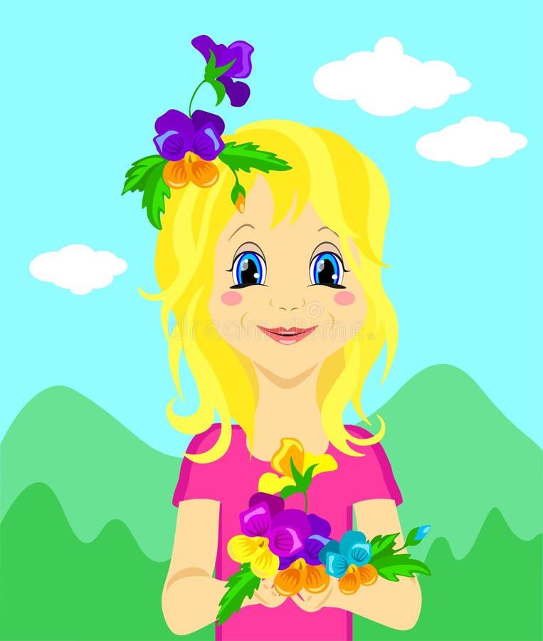 Fille mignonne avec des fleurs pour le jour des enfants ou d'autres illustrations, vecteur illustration de vecteur