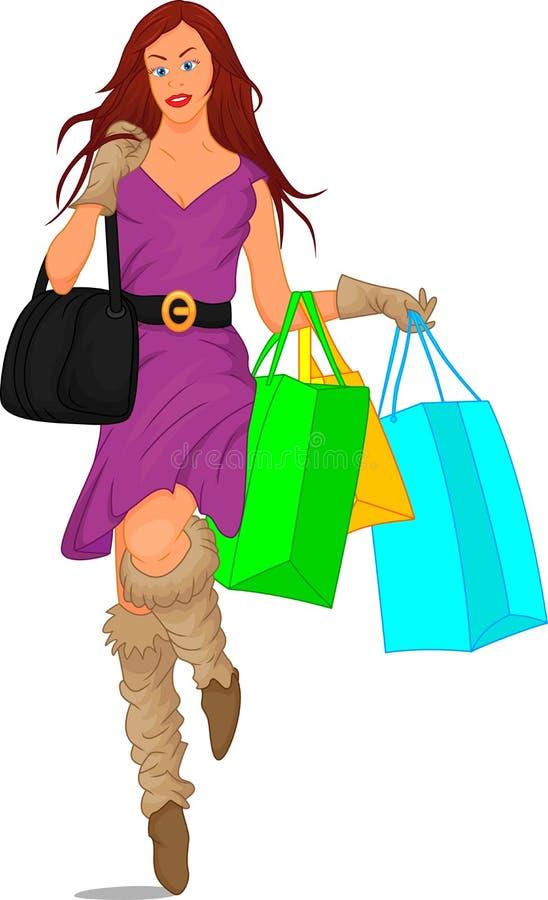 Fille mignonne avec des sacs à provisions illustration stock