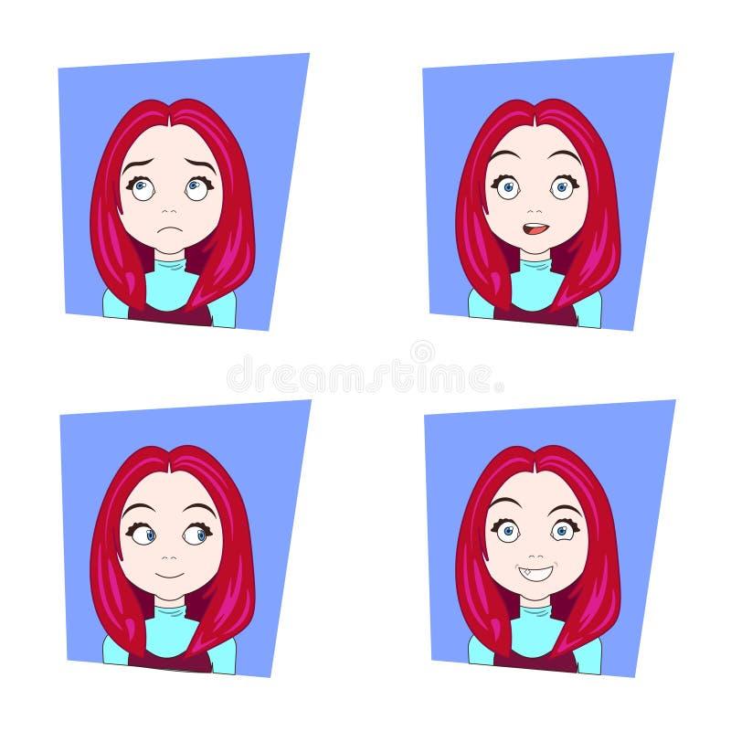 Fille mignonne avec différentes émotions faciales réglées de jeunes expressions rouges de visage de femme de cheveux illustration stock