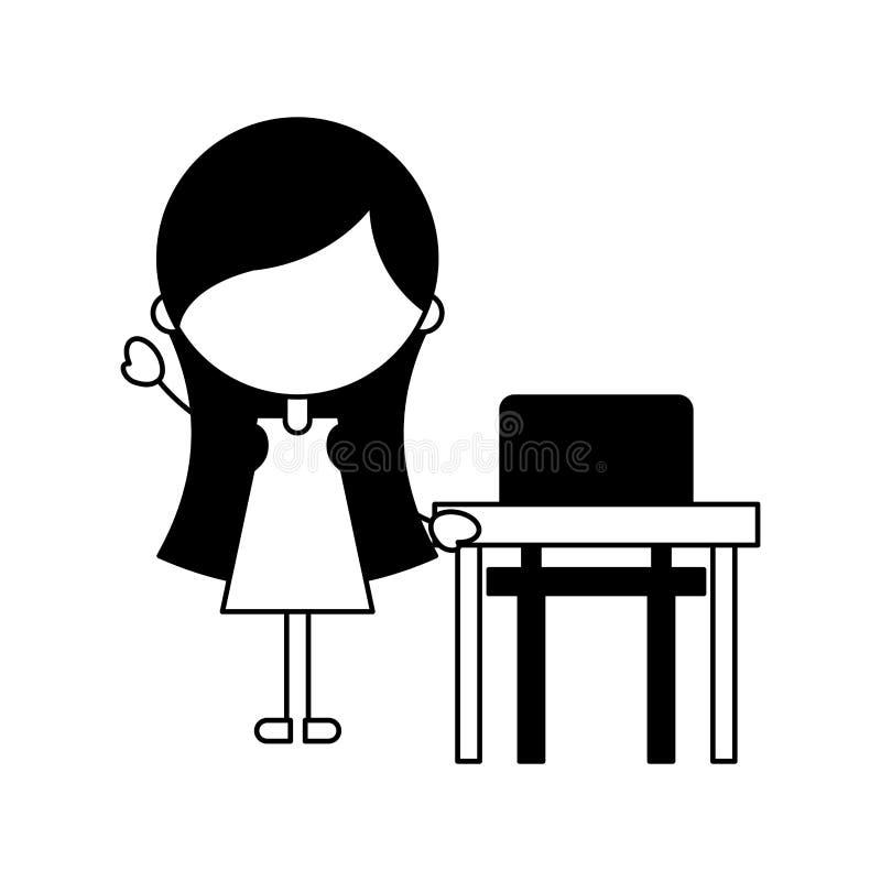 Fille mignonne avec l'icône de caractère de chaise d'école illustration de vecteur