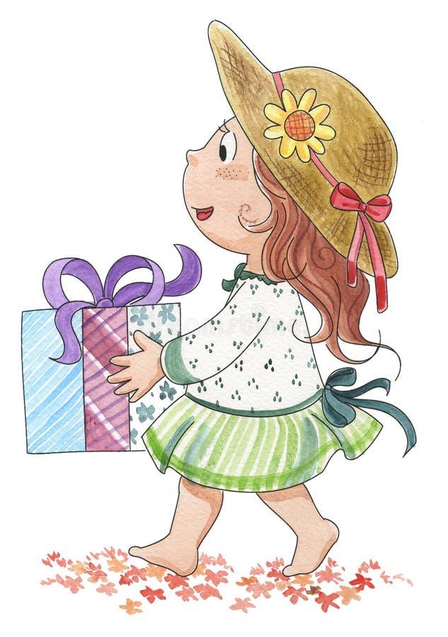 Fille mignonne avec la cadeau-aquarelle illustration stock