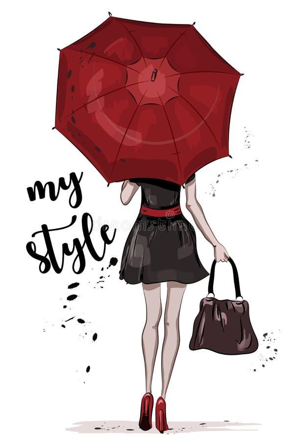 Fille mignonne avec le parapluie rouge Femme tirée par la main de mode croquis illustration de vecteur