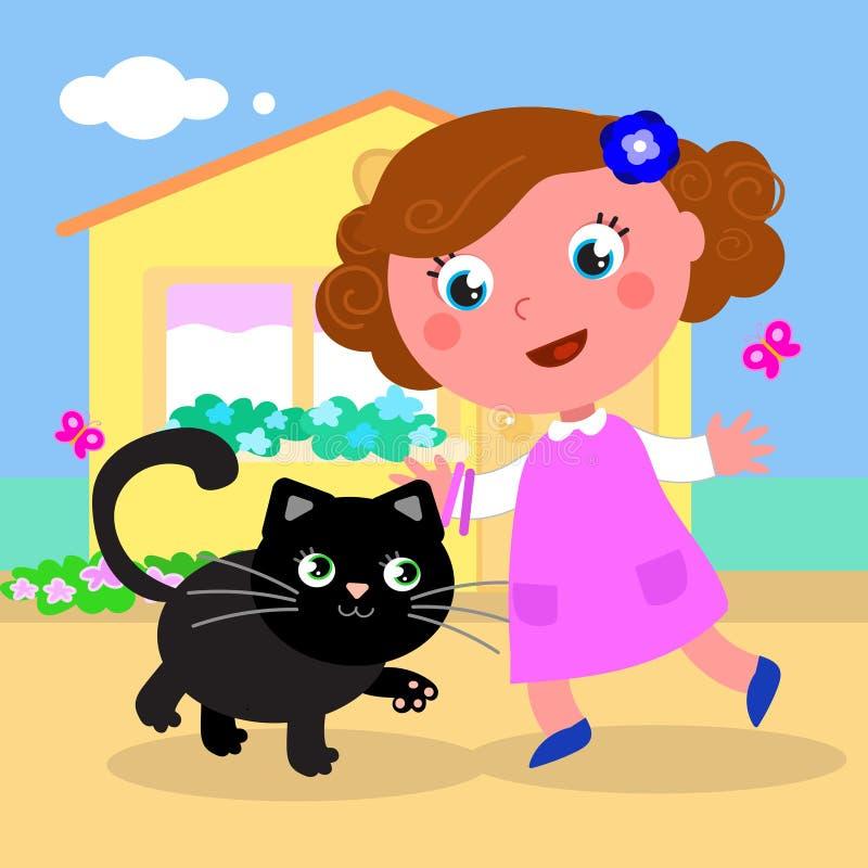 Fille mignonne avec le vecteur de chat illustration libre de droits