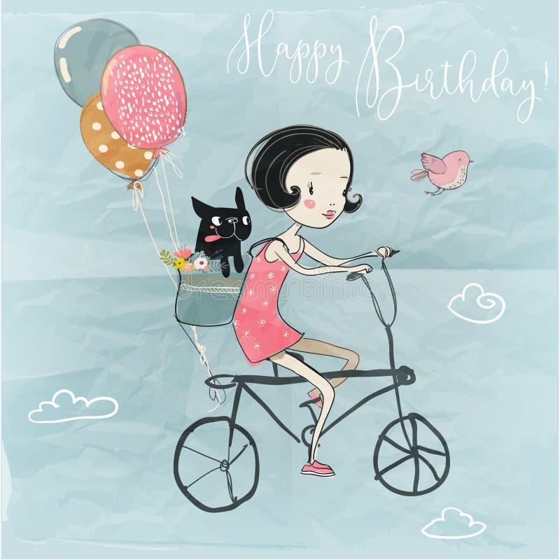 Fille mignonne avec un chien sur le vélo illustration de vecteur